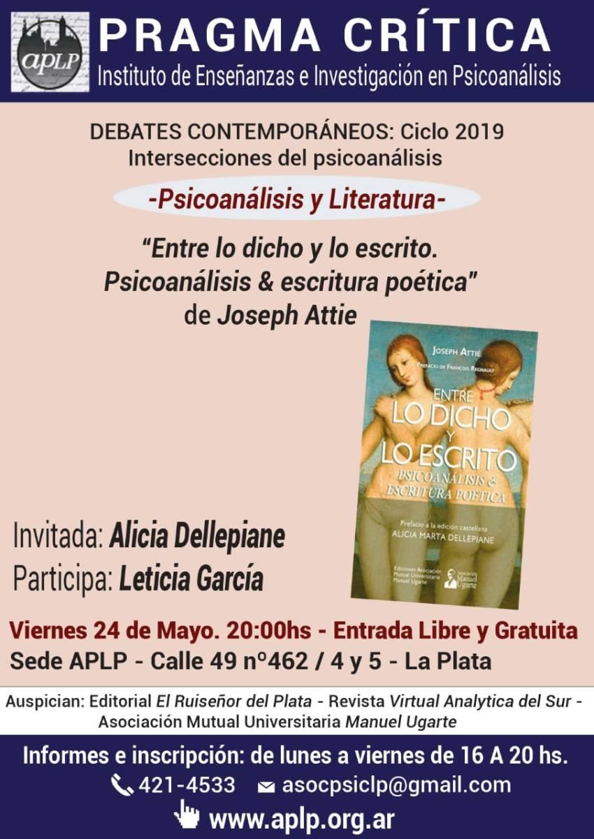 Afiche Presentación del libro Entre lo dicho y lo escrito. Psicoanálisis & escritura poética.