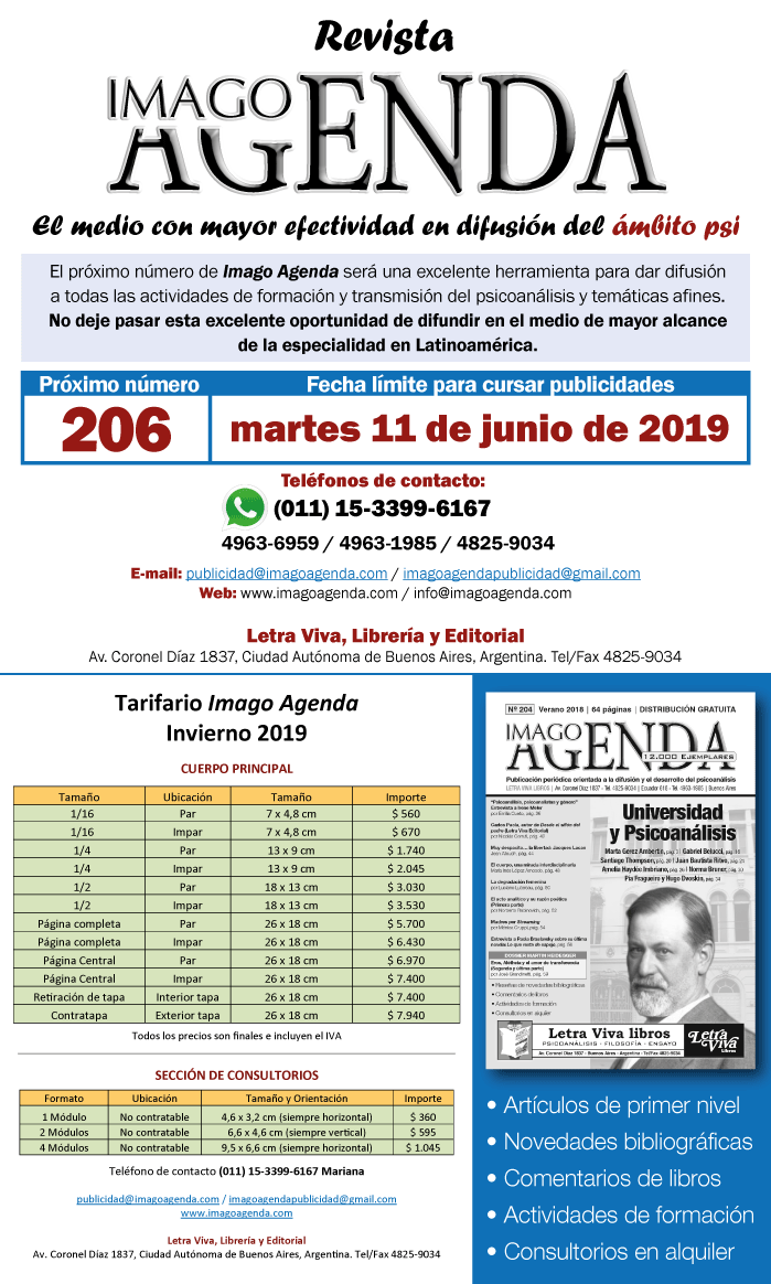 Fecha de Cierre Revista Imago Agenda 206.